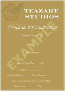 Cert. Of Authenticity - Prints